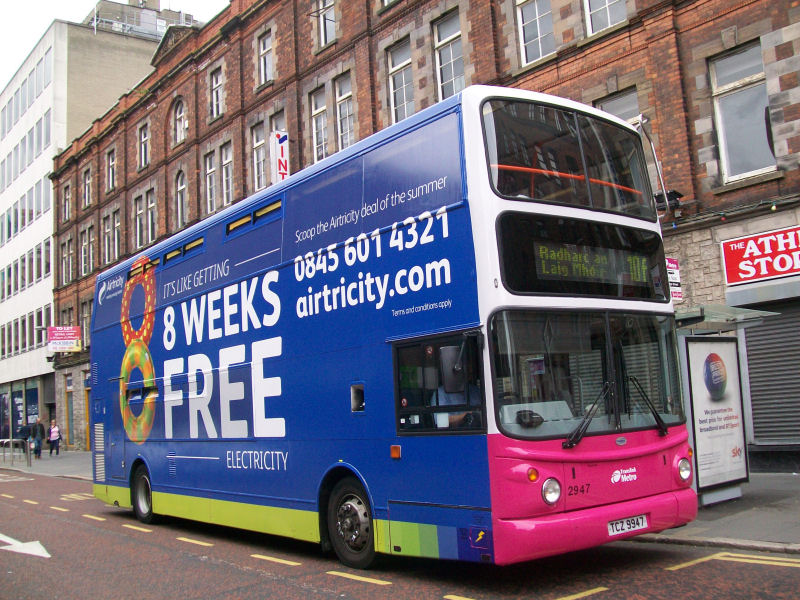 Volvo B7TL 2947 Airtricity Advert - Queen Street -  Aug 2013 [ Stephen McKinstry ]