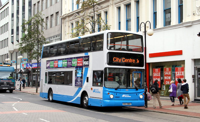 Metro Volvo 2983 in blue - Royal Avenue - August 2011  - [ Will Hughes ]